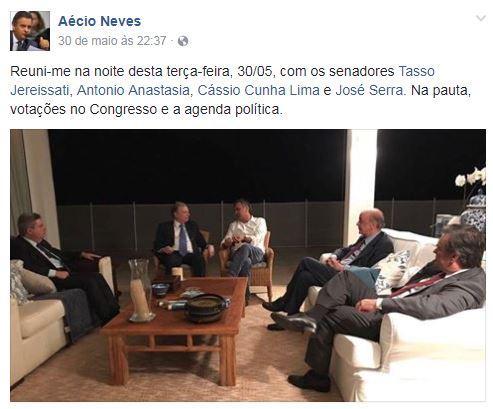 Janot reforça pedido de prisão de Aécio com foto de reunião postada no Facebook