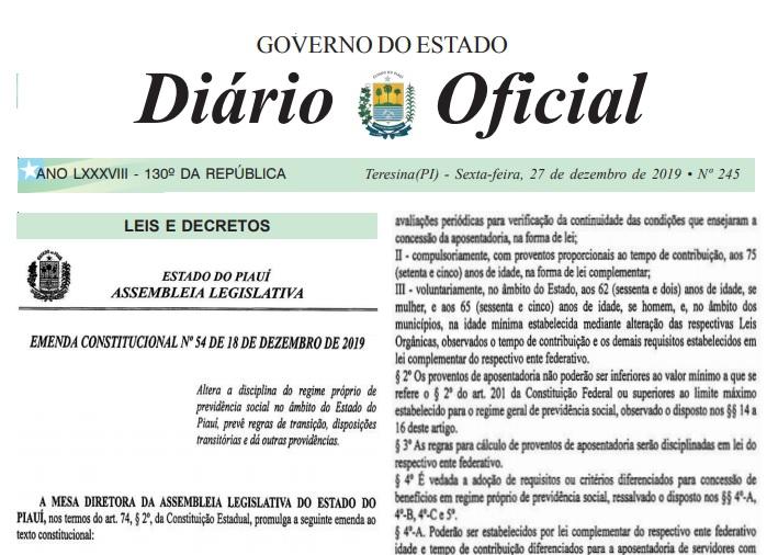 Governo do Piauí publica lei da reforma da Previdência; veja como ficou