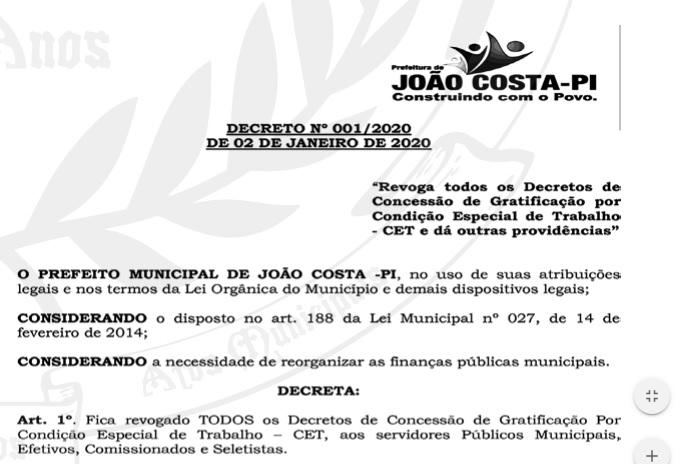 Gilson Castro revoga os decretos de funções gratificadas de sua gestão