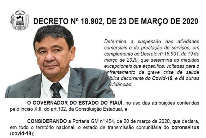 Decreto de Wellington Dias define as atividades essenciais que devem funcionar no Piauí